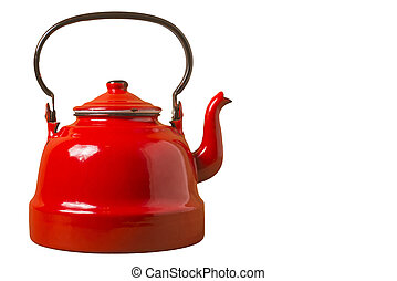 Old red porcelain teapot isolated