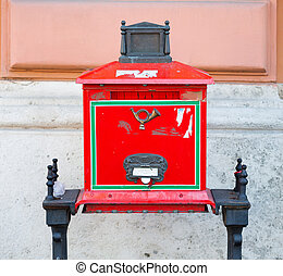 Old red postal box located in Buda Castle