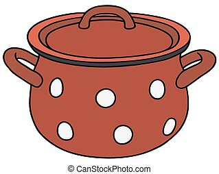 Old red pot - Hand drawing of a classic red metal pot