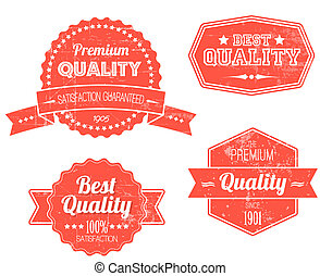 Old red retro vintage grunge labels