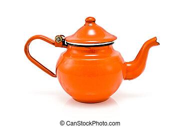Old red rustic tea pot