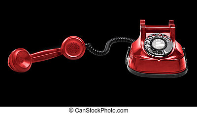 Old Red telephone (isolated) on black background