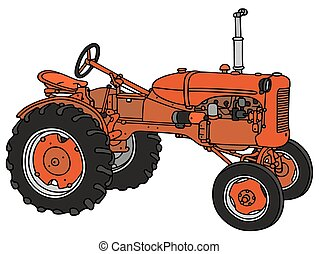 Old red tractor - Hand drawing of an classic red tractor -...
