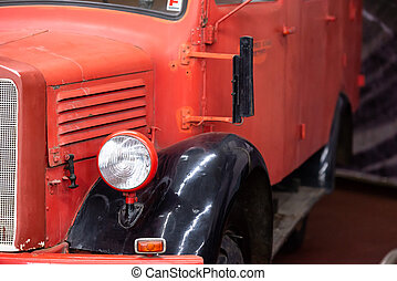 Old red truck.