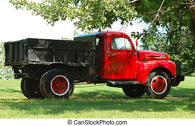 Old red truck on the grass