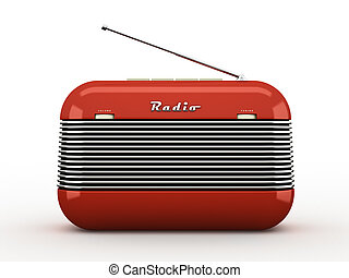Old red vintage retro style radio isolated on white...