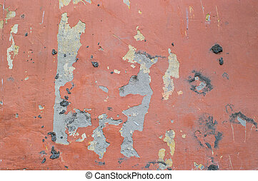 Old red wall of the thrown house