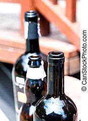 Old Red Wine Bottle blur technic .
