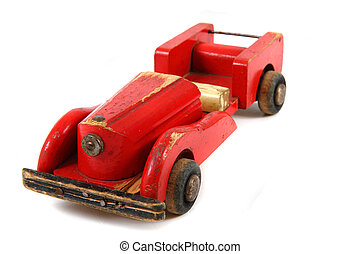old red wooden car toy
