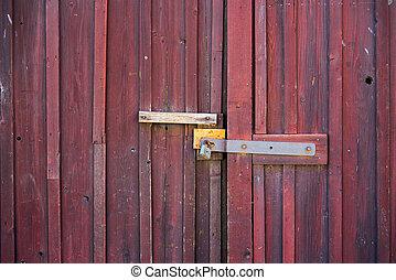 Old red wooden door