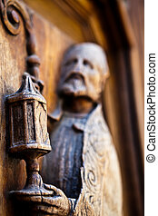 Old religious artefact - Old wooden religious handmade ...