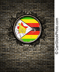 Old Republic of Zimbabwe flag in brick wall - 3d rendering ...