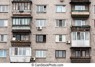 Old residential building with balconies