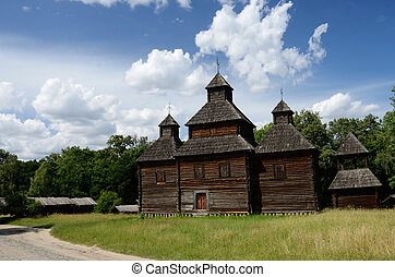 Old Resurrection wooden church from Poltavshina region ,Ukraine,