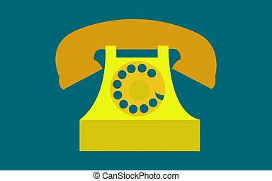 Old, retro, antique, ancient, vintage, hipster, yellow, golden disk phone with a tube on a dark blue background. Vector illustration.