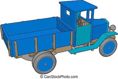 Old retro blue car, illustration, vector on white background.
