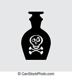 Old retro bottle icon.