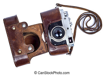 old retro camera in a leather case on a white background