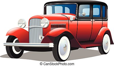 Old retro car on white background, vector illustration