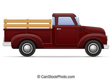 old retro car pickup illustration isolated on white...