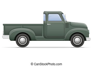 old retro car pickup vector illustration