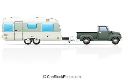 old retro car pickup with trailer vector illustration
