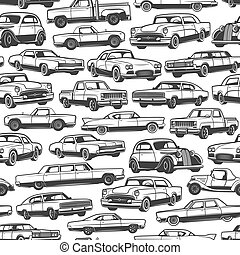 Old retro cars and vintage automobile pattern - Old car or...
