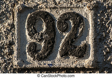 Old retro cast iron plate number 92 - Old retro weathered...