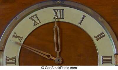 Old retro clock 12 hours - Old vintage wooden clock with...