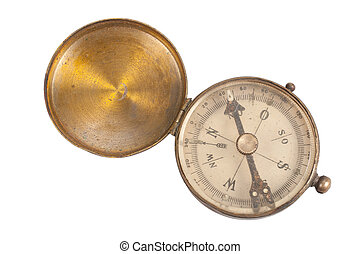 old retro compass on white background