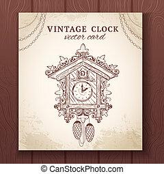 Old retro cuckoo clock card - Old vintage retro sketch...