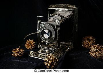 old retro film camera, black