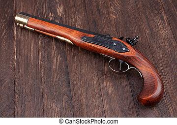 old retro flintlock pistol