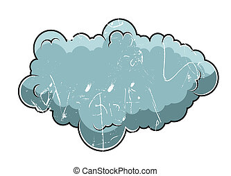 Old Retro Grung Comic Cloud Vector - Old Retro Grunge Comic...