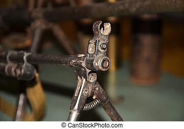 Old retro gun muzzle, Soviet machine gun of the World war II