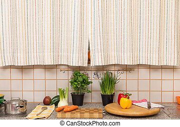 old retro kitchen with vegetables and fruits