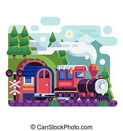 Old Retro Locomotive with Wagon on Mountains