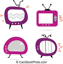 Old retro pink TV collection isolated on white