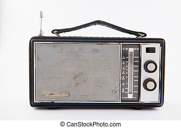 Old retro radio isolated on white background
