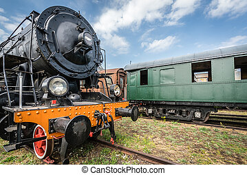Old retro steam train locomotive