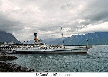 old retro steamer on Lake Geneva