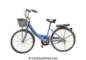Old retro style bicycle isolated on white
