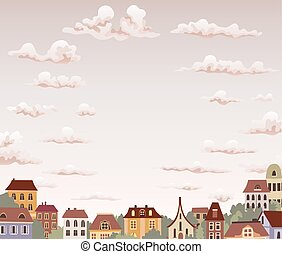 old retro town with sky and clouds. vector illustration