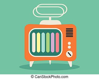 Old retro TV icon, vector
