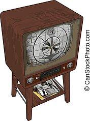 Old retro TV, illustration, vector on white background.