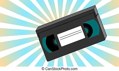 Old retro vintage analogue hipster with film video tape for a video recorder with a magnetic film for watching movies on an abstract background of rays