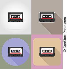 old retro vintage audiocassette flat icons illustration