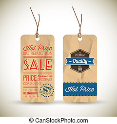 Old retro vintage grunge tags for premium quality and sale