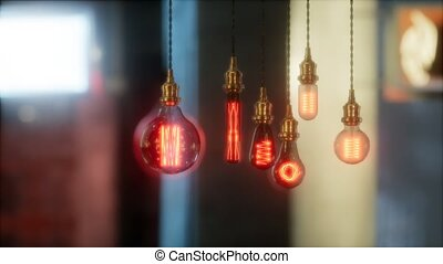 old retro vintage incandescent light bulb. loft style. ideas concept. bokeh background and copy space.