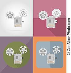 old retro vintage movie film projector flat icons illustration